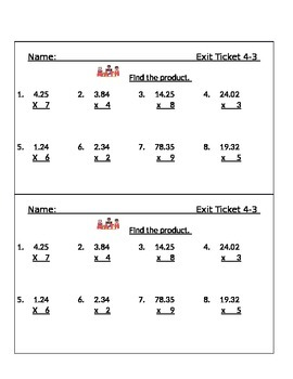 Go Math Chapter 4 Exit Slips/Quizzes/Quick Checks