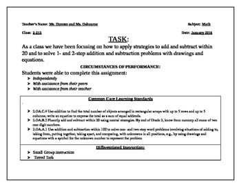 Go Math Chapter 3 Performance Task  2nd Grade