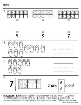 Go Math Chapter 3 Review Test: Kindergarten