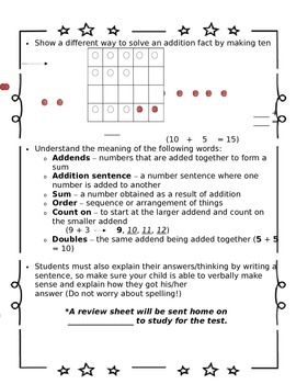 1st Grade Go Math Chapter 3 Study Sheet for Parents