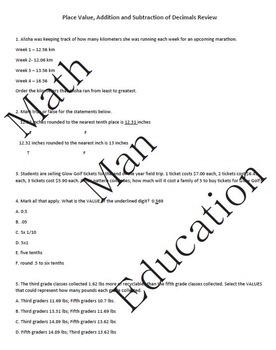 Go Math Chapter 3 Test Review Grade 5