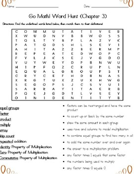 Basic Multiplication Word Search (Grade 3) Common Core