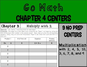 Go Math Chapter 4 Centers