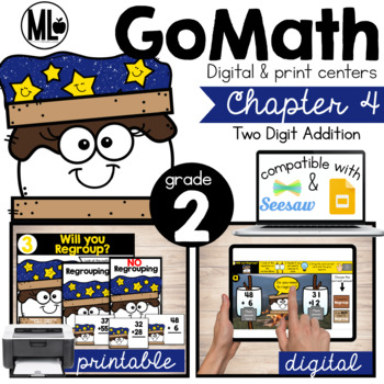 GoMath-Second Grade Math Centers, 2 Digit Addition, Chapter 4