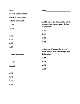 Go Math Chapter 4 Grade 2 Review