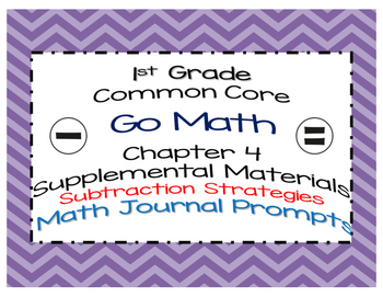 Go Math Chapter 4 Math Journal Prompts Common Core 1st Grade