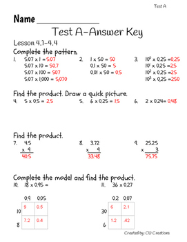 Go Math! Chapter 4 Test/Review with Answer Key by CU ...