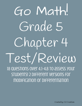 Go Math! Chapter 4 Test/Review with Answer Key