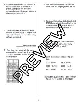 Divide by 1-Digit Numbers Tests (FSA Format)