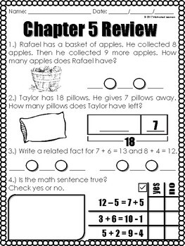 """Chapter 5 Review """"Go Math"""" Form: B Included"""