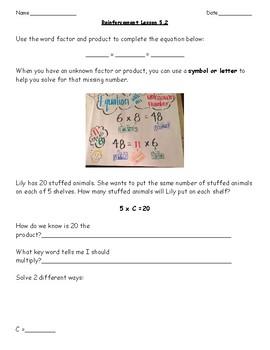 Go Math Chapter 5 Grade 3 Reinforcement/Reteach Work by ...