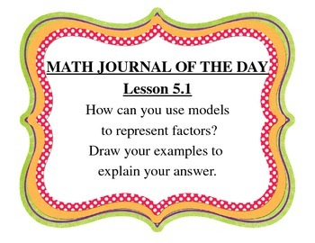 Go Math Chapter 5 Grade 4 Journal of the Day Posters