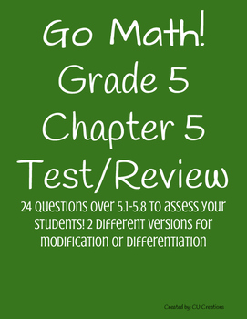 Go Math! Chapter 5 Test/Review with Answer Key