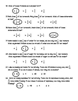 Go Math Chapter 6 Fraction Equivalence & Comparison 4th Gr Review with Answers