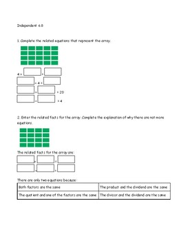 Go Math Chapter 6 Lessons 1-9 *Division*