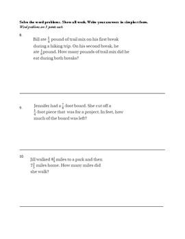 Go Math Chapter 6 Mathematics Test - 5th grade