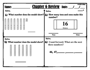 """Chapter 6 Review """"Go Math"""" Form: B Included"""