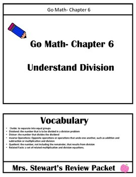 Go Math- Chapter 6 Review Packet - 3rd Grade