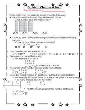 graphic relating to 1st Grade Math Test Printable referred to as To start with Quality Move Math Chapter 6 Analyze Sheet for Dad and mom