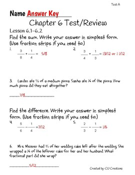 Go Math! Chapter 6 Test/Review with Answer Key by CU ...