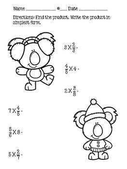 Go Math Chapter 7 - 5th Grade - Multiply Fractions Practice - Winter