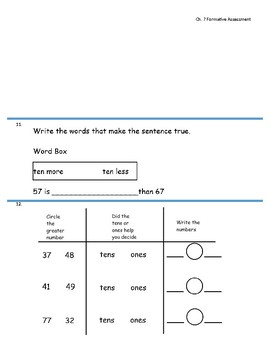 Go Math Chapter 7 (Compare Numbers) First Grade-Formative Assessment