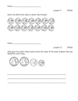 Go Math Chapter 7 Exit Slips - 2nd Grade