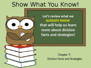 Go Math Chapter 7 Introduction Division Facts and Strategies grade 3 PowerPoint