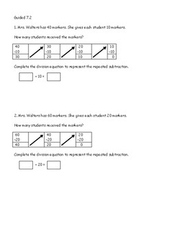 Go Math Chapter 7 Lessons 1-10 *Division*