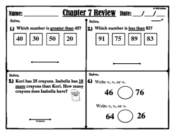 "Chapter 7 Review ""Go Math"" Form: B Included"