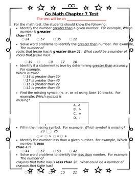 1st Grade Go Math Chapter 7 Study Sheet for Parents