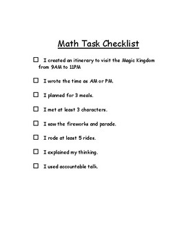 Go Math! Chapter 7 Time Task for Small Group Work
