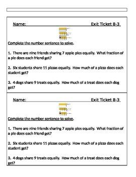 Go Math Chapter 8 Exit Slips/Quizzes/Quick Checks