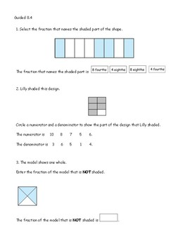 Go Math Chapter 8 Lessons 1-5 *Fractions*