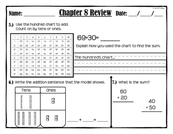 """Chapter 8 Review """"Go Math"""" Form: B Included (Tens and Ones)"""