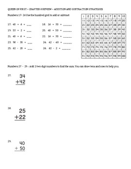 Go Math Chapter 8 Review Sheet - First Grade