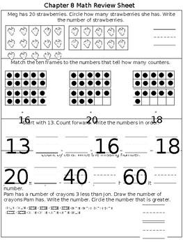 Math Chapter 8 Review Sheet Kindergarten By Kindergarten Kids Tpt