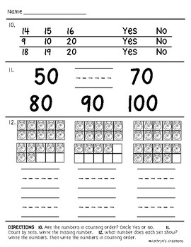 Go Math Chapter 8 Review Test: Kindergarten