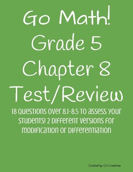 Go Math Grade 5 Chapter 8 Test Answers