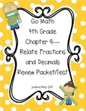 Go Math Chapter 9 Relate Fractions and Decimals 4th Grade - Review with Answers