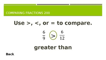 Comparing Fractions Jeopardy (Grade 3)