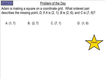 Go Math! Chapter 9 Problem of the Day, 5th Grade- SMART Board