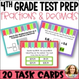 4th Grade Test Prep: Fractions & Decimals in Tenths and Hundredths Task Cards