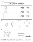 Go Math Chapter 9 Review Test: Kindergarten