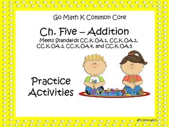 Go Math Chapter Five K Activity Sheets