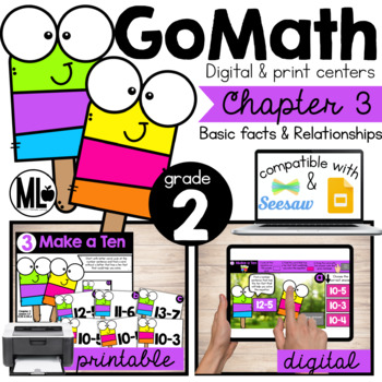 GoMath-Second Grade Math Centers,Basic Facts & Relationships, Chapter 3