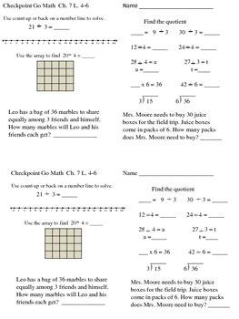 Go Math Checkpoint Ch. 7-8