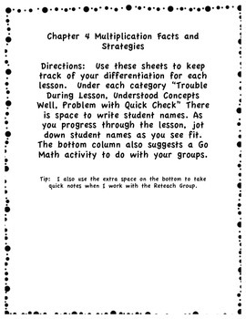 Go Math Differentiation Organizer Grade 3 Ch 4 Multiplication Facts