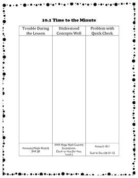 Go Math Differentiation Organizer Grade 3 Ch 10 Time, Length, Volume & Mass