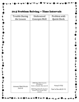 Go Math Differentiation Organizer Grade 3 Ch 10 Time, Length, Volume & Mass